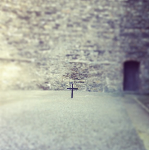 A cross marks the spot where 13 of the men were executed in 1916