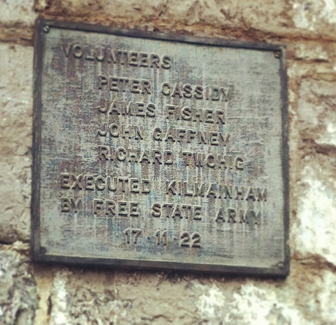 Plaque commemorating the last four prisoners to be executed in the Gaol before its closure.