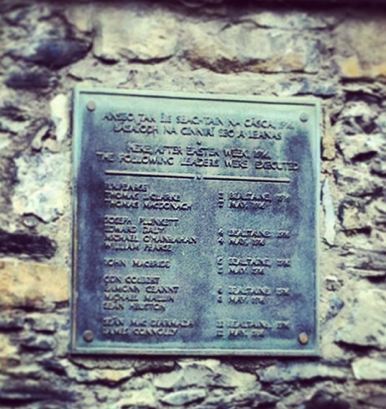 Plaque commemorating the 14 men executed in 1916 under General Maxwell's orders