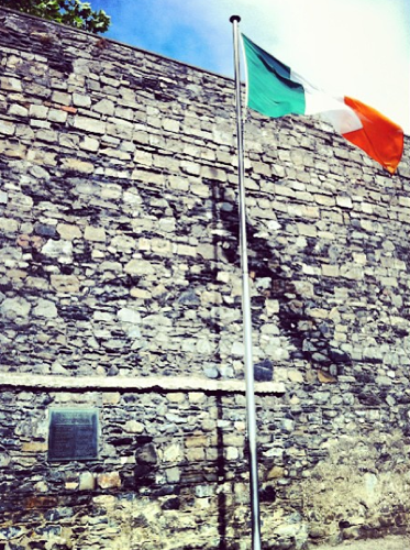 A tricolour flies beside the plaque