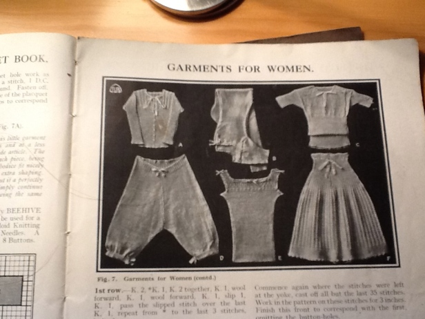 A: Under-bodice, B: Combinations, C: Vest, D: Knickers, E: Summer vest, F: Double-breasted vest