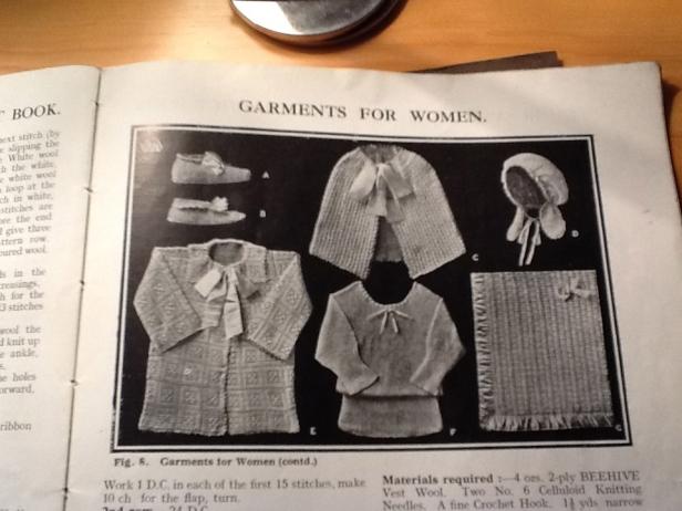 A: Knitted bedroom slippers, B: Crocheted bedroom slippers, C: Light shoulder cape, D: Boudoir cap, E: Crochet dressing jacket, F: Slumber vest.