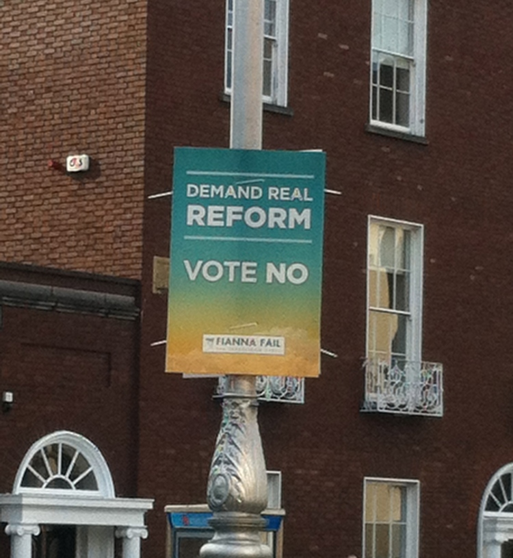 Fianna Fáil's poster fed into a wider debate about parliamentary reform -- although whether the Seanad should be reformed or not isn't the question on which the electorate will vote.