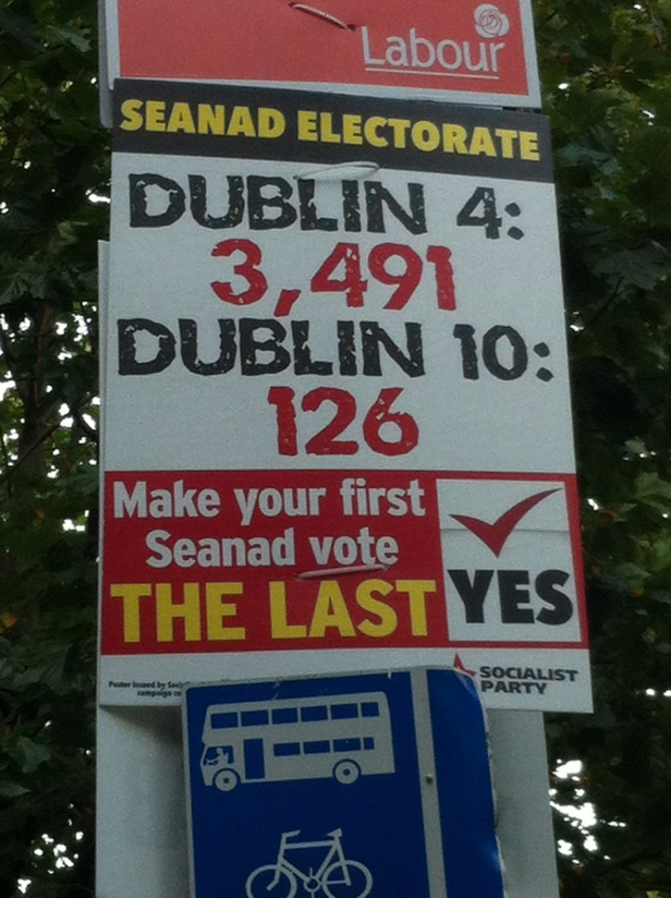 In contrast to the above, the Socialists offered a stronger message through the use of statistics showing the elite nature of the Seanad electorate.