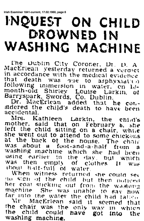 Report from the Irish Examiner, 17 February 1960